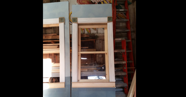 Process shot of window. The windows were built in the shop and fully functional.