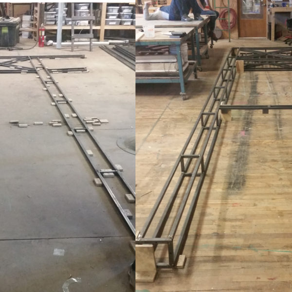 Process shot of platform legs