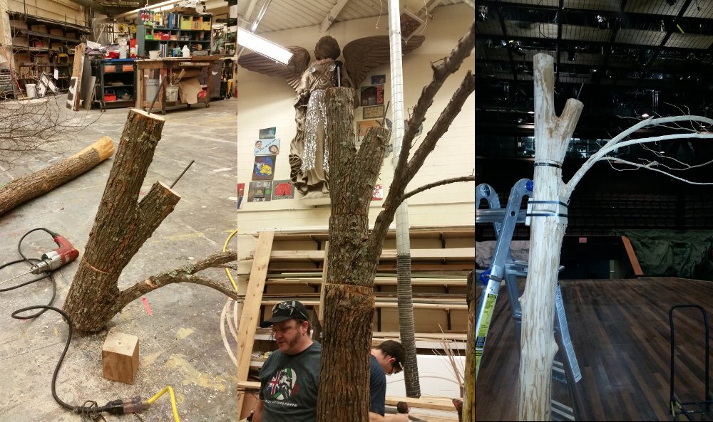 •	We created the trees by cutting down real trees and piecing them back together to fit in the theatre. Since the trees we cut down were as tall as 70' tall, they needed to be significantly cut down and pieced back together to fit under our grid.